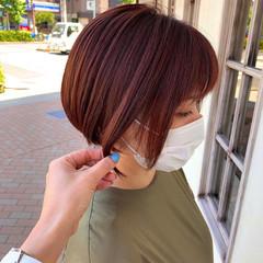 ベリーピンク ボブ ピンクブラウン モード ヘアスタイルや髪型の写真・画像