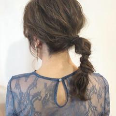 デート 結婚式 セミロング ヘアアレンジ ヘアスタイルや髪型の写真・画像