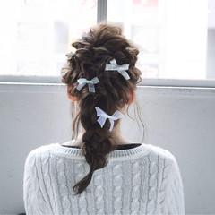 編み込み ヘアアレンジ 外国人風 セミロング ヘアスタイルや髪型の写真・画像