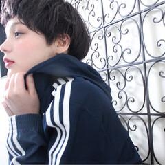 黒髪 リラックス ショートボブ ショート ヘアスタイルや髪型の写真・画像