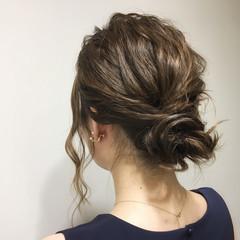 編み込み 結婚式 パーティ ヘアアレンジ ヘアスタイルや髪型の写真・画像