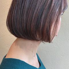 ラベンダーピンク ボブ ナチュラル ピンクラベンダー ヘアスタイルや髪型の写真・画像