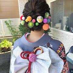 ナチュラル 着物 ミディアム 成人式 ヘアスタイルや髪型の写真・画像