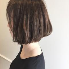 暗髪 ミディアム ワンカール ボブ ヘアスタイルや髪型の写真・画像