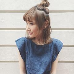 簡単ヘアアレンジ ミディアム デート ショート ヘアスタイルや髪型の写真・画像