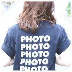 パーマ アッシュ ミディアム 外国人風 ヘアスタイルや髪型の写真・画像