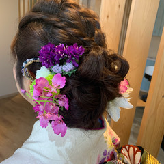 和装 セミロング 和装ヘア 和装髪型 ヘアスタイルや髪型の写真・画像