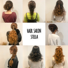 ポニーテール ハーフアップ フェミニン アップスタイル ヘアスタイルや髪型の写真・画像