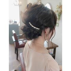 編み込み シニヨン ゆるふわ 結婚式 ヘアスタイルや髪型の写真・画像