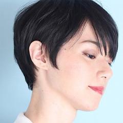 黒髪 ショート ナチュラル デート ヘアスタイルや髪型の写真・画像
