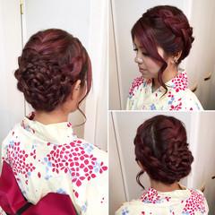ヘアアレンジ 編み込み 和装 アップスタイル ヘアスタイルや髪型の写真・画像