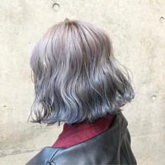 ブルー バレイヤージュ シルバーアッシュ 外国人風カラー ヘアスタイルや髪型の写真・画像