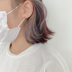 ハイトーン ラベンダーピンク ブリーチ インナーカラー ヘアスタイルや髪型の写真・画像