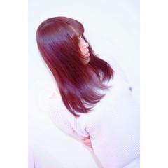 縮毛矯正 ナチュラル パーマ レッド ヘアスタイルや髪型の写真・画像