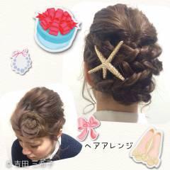 ヘアアレンジ ストリート ミディアム 編み込み ヘアスタイルや髪型の写真・画像