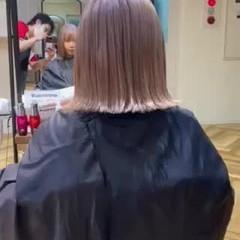 ハイトーンボブ 艶髪 ハイトーンカラー ガーリー ヘアスタイルや髪型の写真・画像