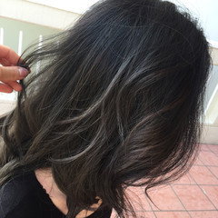 大人かわいい セミロング 外国人風 ハイライト ヘアスタイルや髪型の写真・画像