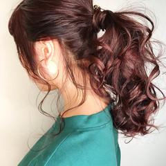 ヘアアレンジ 結婚式 ポニーテール 簡単ヘアアレンジ ヘアスタイルや髪型の写真・画像