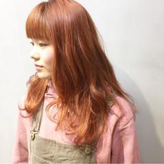 ストリート オレンジベージュ オレンジブラウン ラズベリーピンク ヘアスタイルや髪型の写真・画像