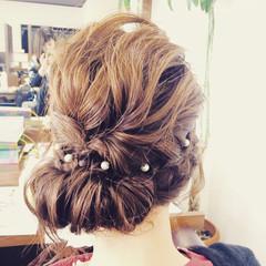 結婚式 パールアクセ セミロング ヘアアレンジ ヘアスタイルや髪型の写真・画像