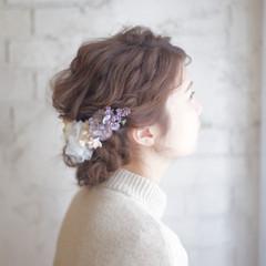 簡単ヘアアレンジ セミロング 大人かわいい 結婚式 ヘアスタイルや髪型の写真・画像