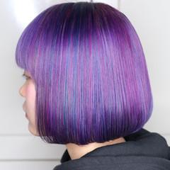 ユニコーンカラー ハイトーン ボブ ハイトーンカラー ヘアスタイルや髪型の写真・画像