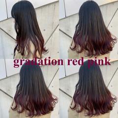 ロング ベリーピンク ブルーラベンダー ナチュラル ヘアスタイルや髪型の写真・画像