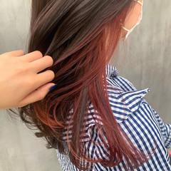インナーカラー オレンジカラー インナーカラーオレンジ セミロング ヘアスタイルや髪型の写真・画像