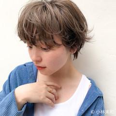 ベージュカラー ニュアンスパーマ ベリーショート ショート ヘアスタイルや髪型の写真・画像