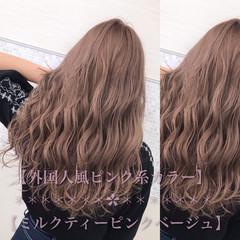 ピンクブラウン ピンクアッシュ セミロング 大人かわいい ヘアスタイルや髪型の写真・画像