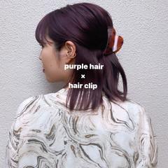 モード ミディアム 切りっぱなしボブ パープルカラー ヘアスタイルや髪型の写真・画像