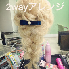 グラデーションカラー ロング ヘアアレンジ ルーズ ヘアスタイルや髪型の写真・画像