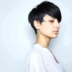 ブラウン 外国人風 ショート 黒髪 ヘアスタイルや髪型の写真・画像
