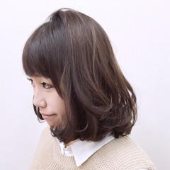 ゆるふわ フェミニン ハイライト ミディアム ヘアスタイルや髪型の写真・画像