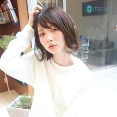 デート ヘアアレンジ ミディアム ガーリー ヘアスタイルや髪型の写真・画像