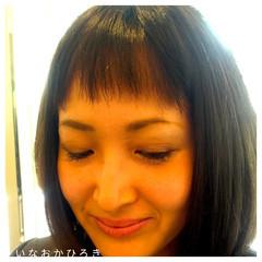 前髪あり シースルーバング グラデーションカラー 暗髪 ヘアスタイルや髪型の写真・画像