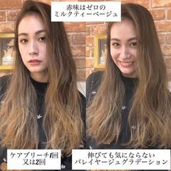 3Dハイライト バレイヤージュ ロング ミルクティーベージュ ヘアスタイルや髪型の写真・画像