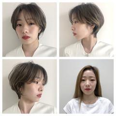 ショートヘア ショート ナチュラル グレージュ ヘアスタイルや髪型の写真・画像
