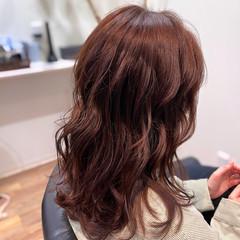 モーブ レイヤーロングヘア ロング ナチュラル ヘアスタイルや髪型の写真・画像