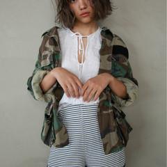 アンニュイ ボブ パーマ 外国人風 ヘアスタイルや髪型の写真・画像