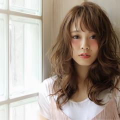 ブラウン レイヤーカット セミロング ゆるふわ ヘアスタイルや髪型の写真・画像