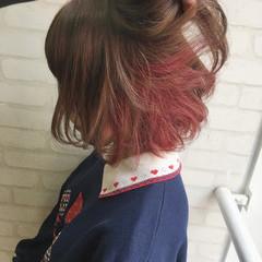 ボブ ミルクティー ヘアアレンジ フェミニン ヘアスタイルや髪型の写真・画像