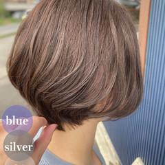 大人ショート ブリーチなし ショート イルミナカラー ヘアスタイルや髪型の写真・画像
