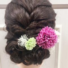 ヘアアレンジ ロング ガーリー 結婚式 ヘアスタイルや髪型の写真・画像