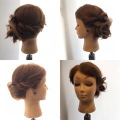 簡単ヘアアレンジ ロープ編み 結婚式 ナチュラル ヘアスタイルや髪型の写真・画像