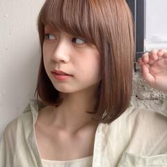 縮毛矯正 ロブ 切りっぱなしボブ ストレート ヘアスタイルや髪型の写真・画像