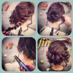パーティ ヘアアレンジ アップスタイル 簡単ヘアアレンジ ヘアスタイルや髪型の写真・画像