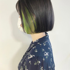ボブ ショートヘア インナーカラー ミニボブ ヘアスタイルや髪型の写真・画像