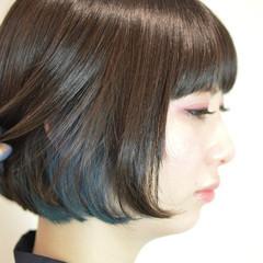 モード ボブ ブルー インナーカラー ヘアスタイルや髪型の写真・画像