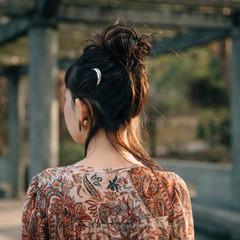 ナチュラル 簡単ヘアアレンジ セミロング ウルフカット ヘアスタイルや髪型の写真・画像